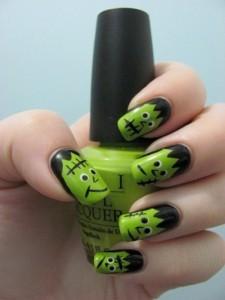 frankenstein halloween nail art
