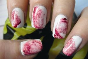 Bloody Fingerprints Halloween Nail Art