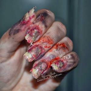 Crazy Zombie Halloween Nail Art