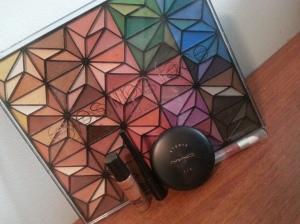 mac studio fix, mac pro long wear concealet, e.l.f. eye liner, e.l.f 150 piece geometric eyeshadow palette, e.l.f. brownie points luscious liquid lipstick