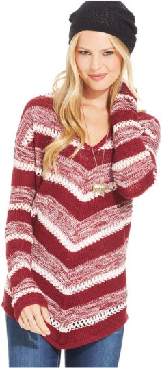 Almost Famous Juniors' Mitered Stripe Sweater
