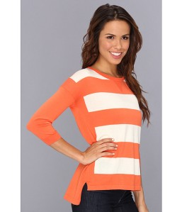 Autumn Cashmere High-Low Striped Sweatshirt