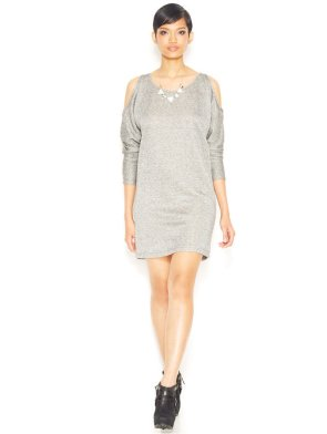 Bar III Dolman-Sleeve Shoulder-Cutout Sweatshirt Dress
