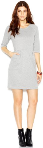 Bar III Three-Quarter-Sleeve Sweatshirt Dress