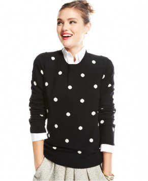 Charter Club Polka-Dot Crew-Neck Cashmere Sweater