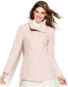Jessica Simpson Double-Breasted Wool-Blend Peacoat