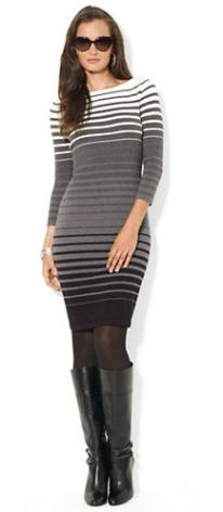 Lauren Ralph Lauren Striped Cotton Sweater Dress