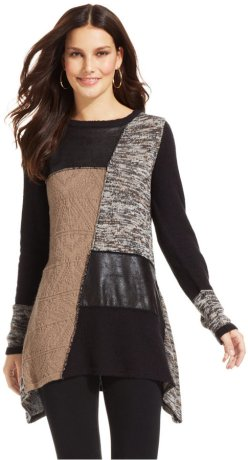 Style&co. Patchwork Faux-Leather Sweater Tunic