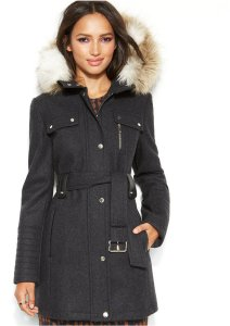 Laundry by Design Hooded Faux-Fur Belted Wool-Blend Coat